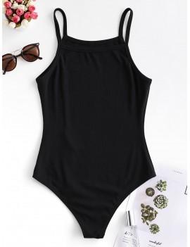 Solid Color Buttoned Cami Bodysuit - Black S