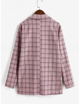 One Buttoned Plaid Corduroy Blazer - Khaki Rose Xl