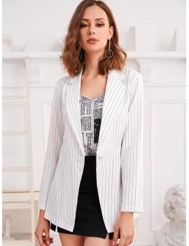 Pinstriped One Button Longline Blazer - White S