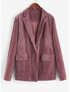 Double Pocket One Button Ribbed Velvet Striped Blazer - Khaki Rose M