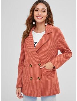 Back Slit Striped Lapel Blazer - Chestnut Red M