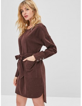 Corduroy Pocket Belted Dress - Coffee S