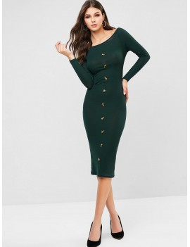 Mock Button Ribbed Off Shoulder Bodycon Dress - Deep Green S