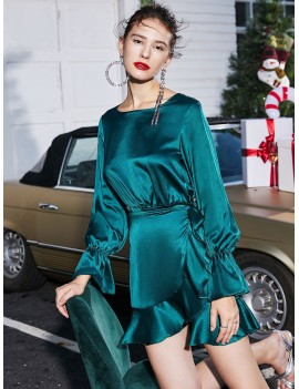 Christmas Overlap Ruffles Tie Waist Long Sleeve Dress - Deep Green Xl