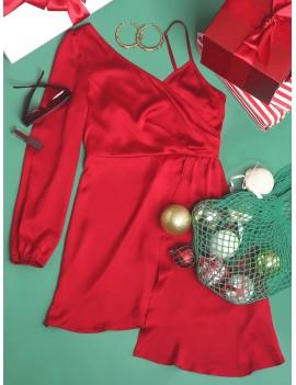 Christmas Asymmetrical V Neck Long Sleeve Dress - Red Wine Xl