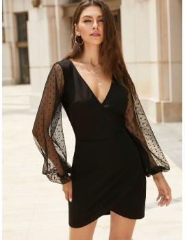 Dots Mesh Panel Mini Surplice Dress - Black M