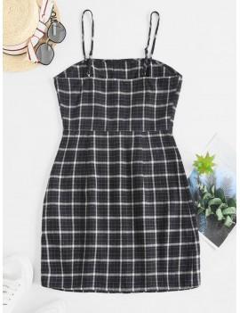 Button Up Plaid Sheath Cami Dress - Multi S