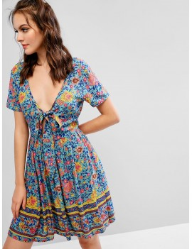 Bohemian Floral Tied Plunging Dress - Multi S