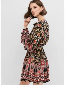 Bohemian Print Lantern Sleeve Mini A Line Dress - Multi-a M