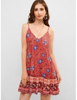 Bohemian Flower Cami Flounce Dress - Cherry Red M