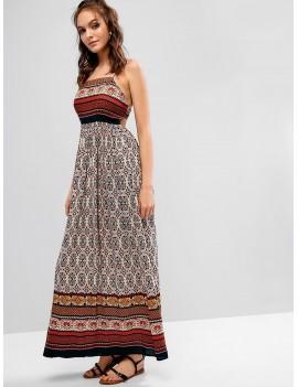 Cut Out Floral Long Cami Bohemian Dress - Multi L