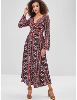 Boho Ethnic Floral Long Sleeve Dress - Multi S