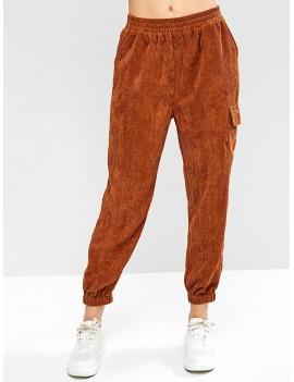 Corduroy Mid Waisted Pocket Jogger Pants - Wood S