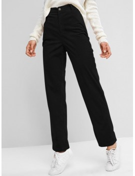 High Waisted Corduroy Pants - Black S