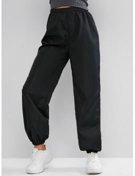 High Waisted Windbreaker Casual Jogger Pants - Black M