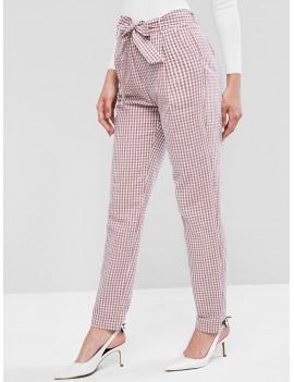 Belted Plaid Zipper Fly Peg Leg Pants - Multi-a M