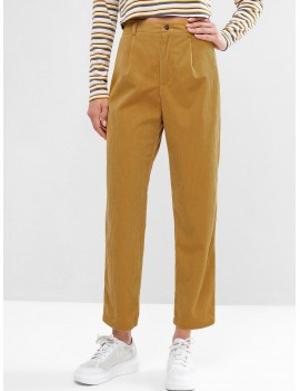 Corduroy Zip Fly High Waisted Pencil Pants - Bee Yellow M
