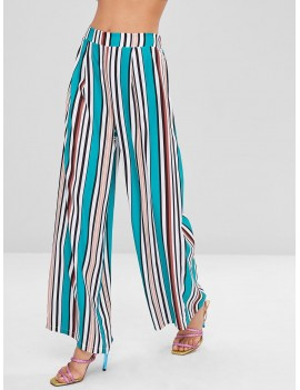 Colorful Striped Wide Leg Pants - Sea Turtle Green S