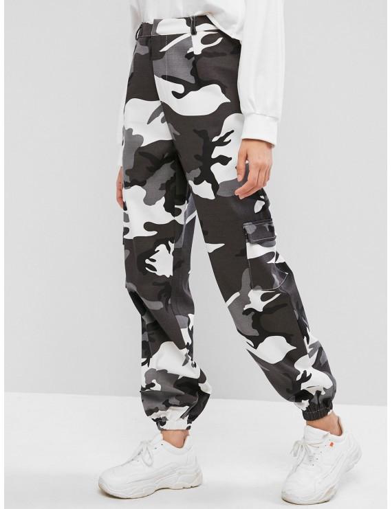 Camouflage Pocket Zipper Fly Jogger Pants - Multi S