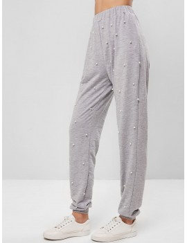 Faux Pearls Beading High Waisted Jogger Pants - Light Gray S