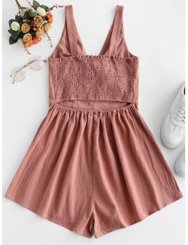 Knotted Cut Out Smocked Sleeveless Romper - Rose L