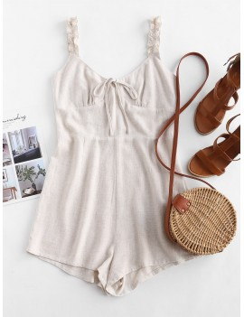 Frilled Strap Bow Cute Romper - Warm White S