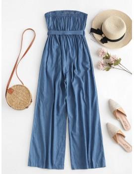 Chambray Pocket Bandeau Jumpsuit - Denim Blue S