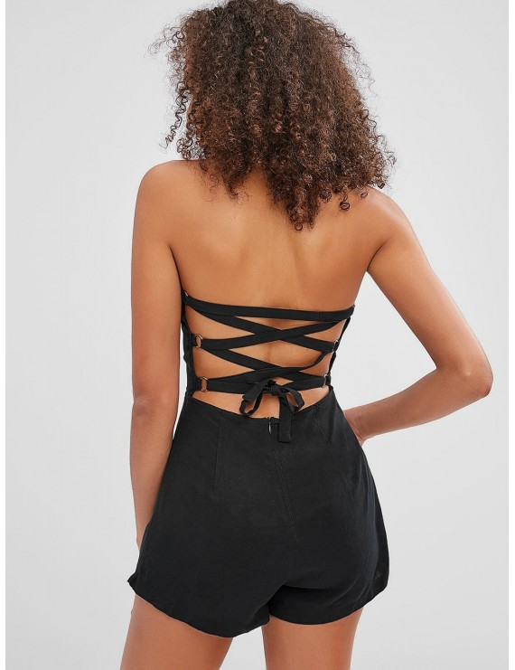 Back Lace-up Bandeau Romper - Black S