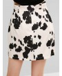 Belted Cow Print Mini Skirt - Multi-a M