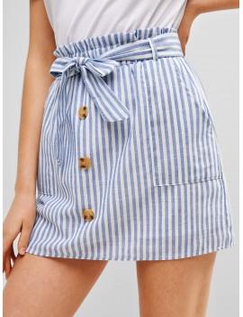 Belted Buttoned Stripes Mini Skirt - Light Blue M