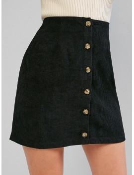 Corduroy Button Fly High Rise Skirt - Black M