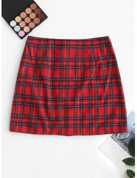 Front Zip Plaid Mini Skirt - Red Wine L
