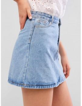 A Line Zip Fly Short Denim Skirt - Denim Blue S