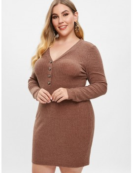 Plus Size Low Cut Knitted Dress - Brown 1x