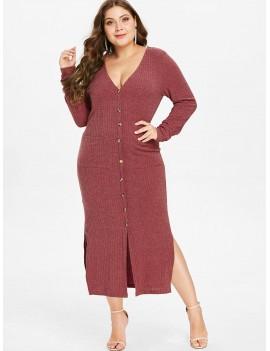 Plus Size Knit Slit Pocket Dress - Cherry Red 2x
