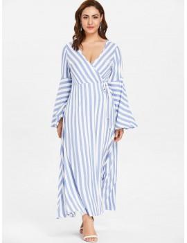 Plus Size Flare Sleeve Wrap Striped Dress - Light Blue 3x