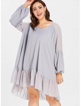 Plus Size Lantern Sleeve Flounce Dress - Blue Gray 4x