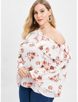 Floral Plus Size Ruffles Blouse - White 4x