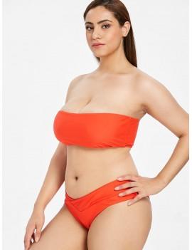 Bandeau Plus Size Swimwear Set - Bright Orange 2x