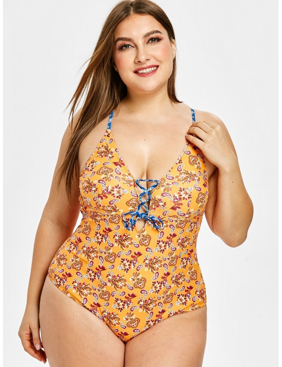 Ethnic Lace Up Backless Plus Size Swimsuit - Sandy Brown 1x