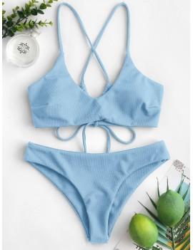 Criss Cross Textured Padded Swimwear Swimsuit - Denim Blue S