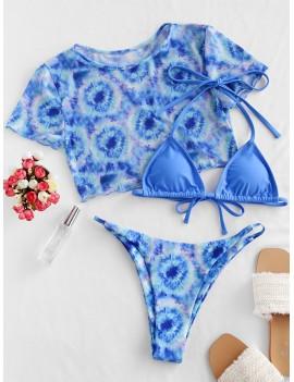 Mesh Tie Dye Halter String Three Piece Swimwear Swimsuit - Dodger Blue M