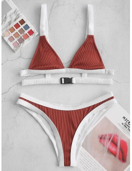 Buckled Contrast Piping Textured Ribbed Swimwear Swimsuit - Sepia S