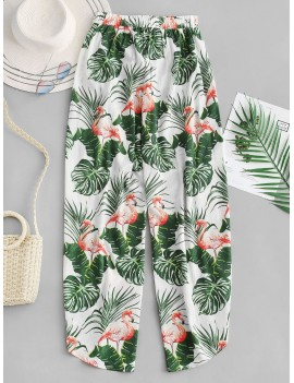 Leaves Print Flamingo Wide Leg Pants - White M