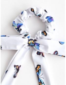 Elastic Butterfly Print Bowknot Hair Scrunchy - Multi-a