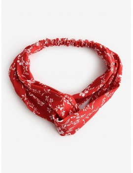 Ditsy Floral Cross Twisted Beach Headband - Red